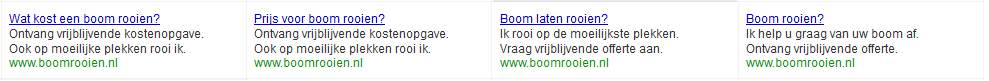 Google Adwords advertenties voor boomrooien.nl