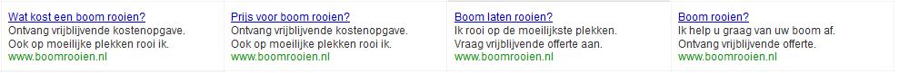 Google Adwords advertenties voor boomrooien.nl
