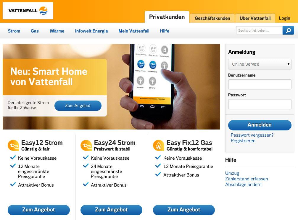 Screenshot van de nieuwe Vattenfall website